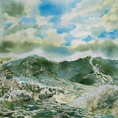 Amanda Richardson, Green Wave with Ragged Clouds, textile collage.