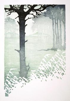 Reedbeds, Japan - Japanese waterbased woodblock - Laura Boswell