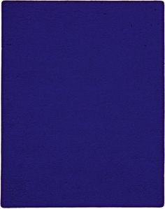 Untitled blue monochrome (IKB 82), 1959. Dry pigment in synthetic resin on canvas, mounted on board, 36 1/4 × 28 1/4 inches (92.1 × 71.8 cm). Solomon R. Guggenheim Museum, New York, Gift, Andrew Powie Fuller and Geraldine Spreckels Fuller Collection 2000.27 © 2014 Artists Rights Society (ARS), New York/ADAGP, Paris