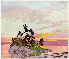 Walter J. Phillips <i>Sunset, Lake of the Woods</i> Woodblock print 1928