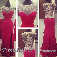 #promdress01 prom dresses - gorgeous wine red chiffon round neck side slit long slim prom dress for teens, ball gown with sequins for season 2015, evening dress #coniefox #2016prom