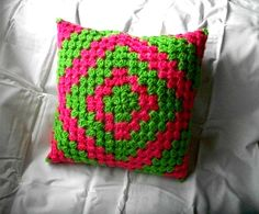 granny square pillow. handmade and crocheted on sale