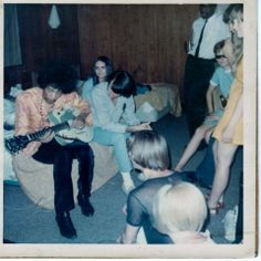 """This is one of my personal photos from The Monkees 1967 World Tour...In honor of the 45th anniversary of the first concert that Jimi Hendrix appeared with The Monkees~(The reason I'm not in it....I was taking the photos) — with Jimi Hendrix, Michael Nesmith and Peter Tork at Nameless Hotel Room on Tour."" 