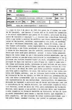 DENUNCIAS DE TORTURA DE PRESO POLITICO FRENTE AO TRIBUNAL MILITAR DA DITADURA