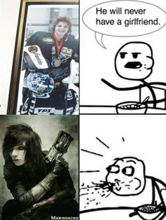 Omg I've never seen that old pic of Andy before LOLOLOLOLOLOL>>>I totally love that he loves hockey, finally, someone who I look up to wouldn't judge me for liking hockey! Emo Bands, Music Bands, Rock Bands, Black Viel Brides, Black Veil Brides Andy, We Are The Fallen, Cereal Guy, Andy Black, Andy Biersack