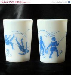 ON SALE Jack Jill Nursery Rhyme Tumbler Blue Hazel Atlas Milk Glass 2 Vtg