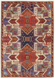 Geometric Oriental Rugs Gallery: Star Kazak Design Rug, Hand-knotted in Pakistan; size: 8 feet 11 inch(es) x 12 feet 1 inch(es)