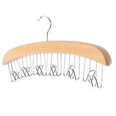 Multifunction Hardwood Belt Tie Cap Hanger With 12Pcs Chrome Hook Closet Hook / Burlywood