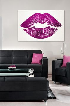 Oliver Gal Solid Kiss Pink Canvas Art on HauteLook
