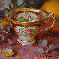 Lady Hamilton Tea Cup by Elena Katsyura Oil ~ 6 x 6