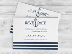 Navy Anchor Striped Printable Wedding Save-the-Date Editable PDF Template