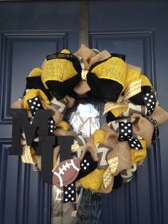 A personal favorite from my Etsy shop https://www.etsy.com/listing/243999218/mizzou-football-wreath-shipped