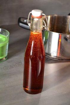 Caramel liquide (recette Tupperware) : 500 g de sucre en poudre - 15 ml de vinaigre blanc (soit 1 cs) - 125 ml + 250 ml d'eau
