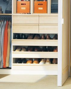 Orderly Shoe Racks  Open, pull-out shelves provide an orderly home for men's or other flat footwear. Each shelf is deep enough to accommodat...