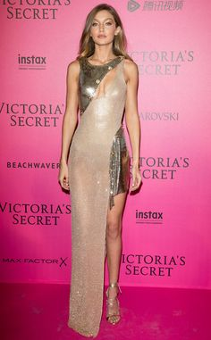 Versace Vixen from Fashion Police  No one wears Versace quite like Gigi Hadid. The supermodel smolders on the pink carpet at the 2016 Victoria's Secret Fashion Show after-party in a custom, asymmetrical gown that's perfect for the occasion. It's sexy and sophisticated without trying too hard.