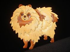 NEW Hand Carved Wood Art Intarsia POMERANIAN DOG Sign Wall Plaque Home Decor