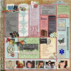 "Lists are a fun and easy way to pull together all kinds of little everyday tidbits into your scrapbook. I love how ""50 Things About Me"" by Scrappycath provides a broad snapshot of the artist at this point in time. This layout also includes a ton of fun details, so the more you look at it, the more there is to discover. This would be a fun exercise to do on a monthly or annual basis, for yourself as well as family members or friends."