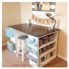 Craft Table made from cheap book shelves and a piece of wood for the top