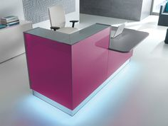 Linea glass reception counter in violet