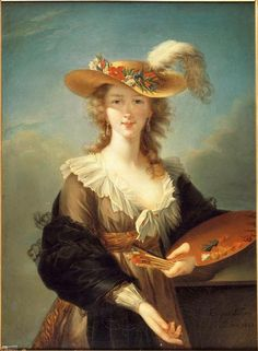 A portrait of Elisabeth Vigée-Le Brun by Eugénie Lefranc, her niece. 19th century.