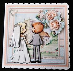 Wedding Day the Happy Couple 8x8 Mini Kit   Decoupage on Craftsuprint created by Bernie Mclaughlin - Printed onto matt photopaper, cut out main image and attached to a white card blank, I then added the decoupage with glue gel, I finished off with a gem heart to the top left hand corner.  This is a really beautiful design