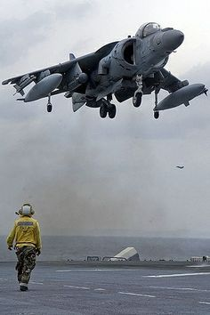 The jump jet Harrier is one of the most beautiful things I have seen. Harrier doing VTOL on an aircraft carrier