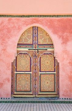 Oh how I miss you Morocco... Morocco, Marrakesh, Decorated Arched Door Stock Photos / Pictures / Photography / Royalty Free Images at Inmagine