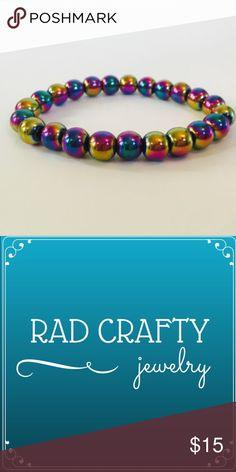 lowest Rainbow colored bracelet. Multicolored Bead Bracelet, handmade. 8mm Electroplate Non-magnetic Hematite Grade AAAA beads. Rad Crafty Jewelry Bracelets