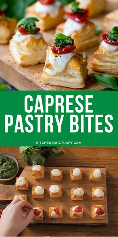 Caprese Pastry Bites are an easy appetizer to whip up. A ready-rolled puff pastry, are quick, simple and eye-catching. Great caprese recipe to make. Italian Appetizers Easy, Yummy Appetizers, Appetizers For Party, Easy Dinner Recipes, Appetizer Recipes, Caprese Appetizer, Party Nibbles, Savoury Recipes, Pastry Recipes