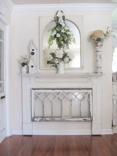 A faux mantel with upcycled items                                                                                                                                                     More