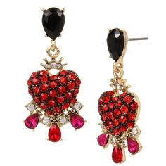 Betsey Johnson In Love Crystal Heart Earrings ($38) ❤ liked on Polyvore featuring jewelry, earrings, red, heart earrings, red heart earrings, long dangle earrings, crystal earrings and crystal dangle earrings
