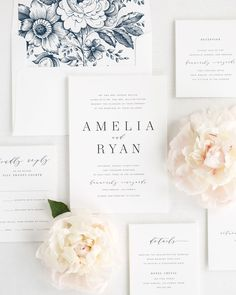 Wedding Invitation Package with Modern Typography in Navy Blue