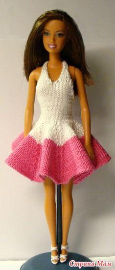 Вишнево-белое платье - Гардероб для куклы - Страна Мам