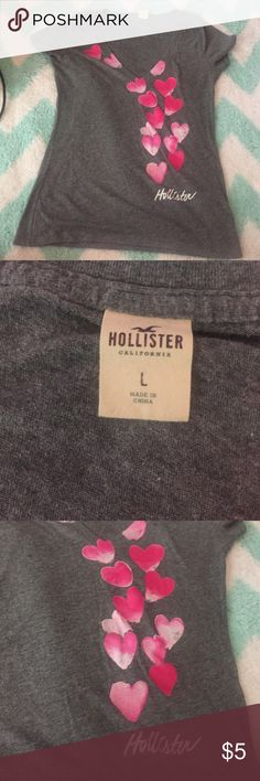 Hollister t-shirt with hearts on it size L No trades and no damages on it. Hollister Tops Tees - Short Sleeve