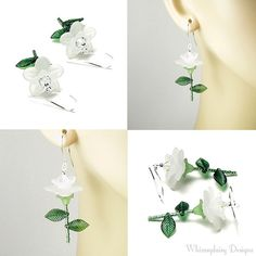White Rose Earrings Acrylic White Flower by whimsydaisydesigns