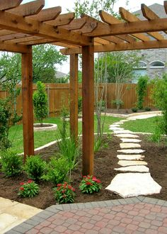 Another view of what I want in backyard. DIY Add landscaping to your backyard with corner pergola. ~ lots of inspiring landscaping ideas ~ Pictures Of Texas Xeriscape Gardens Small Backyard Landscaping, Backyard Patio, Backyard Ideas, Backyard Designs, Patio Ideas, Pergola Ideas, Gravel Patio, Luxury Landscaping, Landscaping Tips