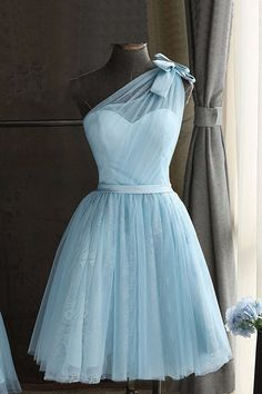 Cute blue tulle prom dress,one shoulder prom dress,homecoming party dress, short prom dress for teens