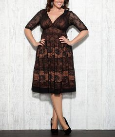 Another great find on #zulily! Black & Cinnamon Tiers of Joy Lace Dress - Plus #zulilyfinds