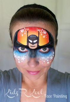 Batman mask - kids r kool Facepainting Batman Face Paint, Superhero Face Painting, Face Painting For Boys, Face Painting Images, Face Painting Designs, Paint Designs, Superhero Makeup, Christmas Face Painting, Balloon Painting