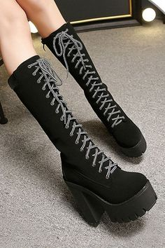 Black Pu Lace Up Platform Chunky Heel Mid Calf Boots @ Womens Fashion Boots,Combat Boots, Winter Boots,Riding Boots,Cowboy Boots,Cheap Boots,Wedge Booties,Ladies Fashion Boots,Thigh High Boots,Girls Sexy Boots,Dress Boots,Knee High,Short,Ankle Boots,Black Boots,Wedge Lace Up Booties Shoes On Sale
