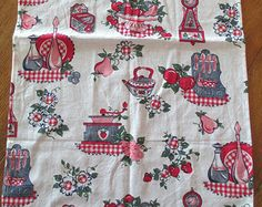 Novelty Print Feed Sack Cotton Fabric, 1950's Red & Gray Kitchen graphics, feedsack hemmed for dish towel