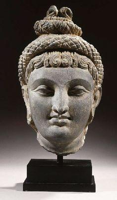 a rare gandhara schist head of probably hariti 2ND/3RD CENTURY