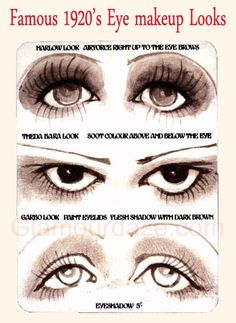 1920s makeup looks - origin of image unknown, repinned from Sarah Fish as a style guide to assist you.