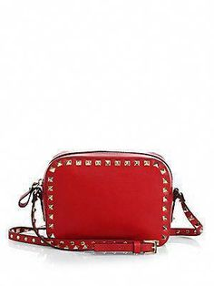 15ebd432ce18 Valentino Studded Leather Camera-Style Crossbody Bag  Valentino Red Crossbody  Bag