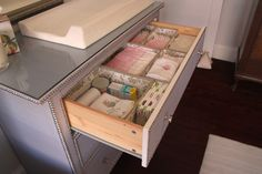 Change table organization organisation. Nappies, diapers, wipes, wet ones, face clothes. Change table. Baby change table. Change table organize.