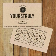 Really digging this business/loyalty card design. Yourstruly Cafe, Cape Town.