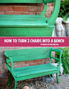 How to turn 2 chairs into a bench! Great DIY idea!