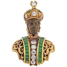 Nardi Emerald Diamond Gold Blackamoor Brooch   1stdibs.com