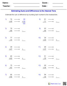 math worksheet : estimating sums and differences 3 digits word problems  math aids  : Estimation Multiplication Worksheets