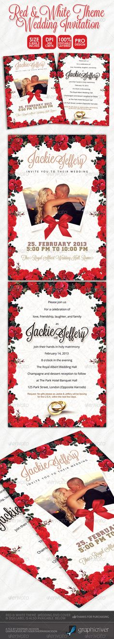 Red & White Theme #Wedding Invitation Card - Weddings Cards & Invites Download here: https://graphicriver.net/item/red-white-theme-wedding-invitation-card/3884540?ref=classicdesignp